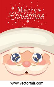santa claus happy face icon with merry christmas lettering and eyeglasses