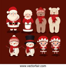 set of christmas icons in red background