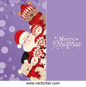 set of christmas icons with merry christmas lettering in purple background