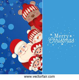 set of christmas icons with merry christmas lettering in blue background