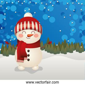 christmas snowman icon in a forest background