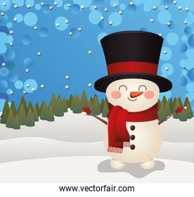 christmas snowman with top hat icon in a forest background