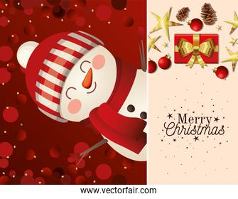 christmas snowman with hat icon and merry christmas lettering