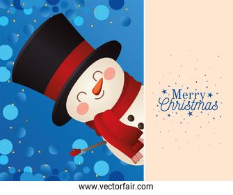 christmas snowman with top hat icon and merry christmas lettering