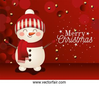 snowman icon with merry christmas lettering on red background