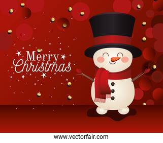 snowman with top hat icon and merry christmas lettering on red background