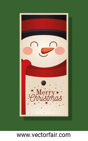 christmas snowman with top hat and merry christmas lettering