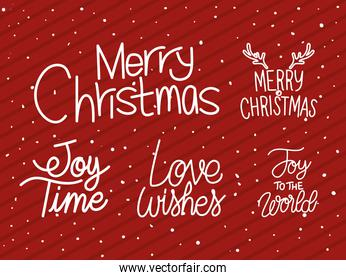 bundle of christmas lettering on red background