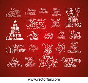 set of christmas lettering on dark red background