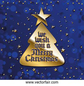we wish you a merry christamas in gold lettering on tree and blue background