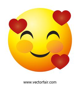 smiling emoji face with hearts, colorful design