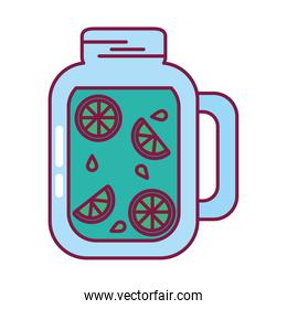 lemonade glass icon, line and fill style