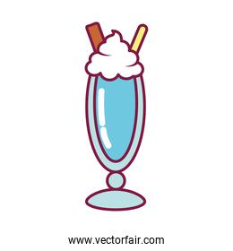 sweet milkshake icon, line and fill style