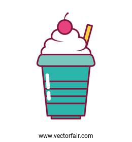 milkshake drink icon, line and fill style