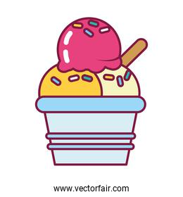 sweet ice cream cup icon, line and fill style