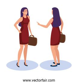 business woman from front and back side isometric vector design