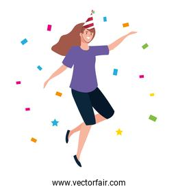 woman dancing with party hat and confetti vector design