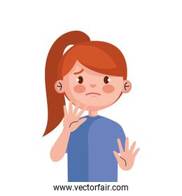stop bullying and sad red hair girl kid vector design