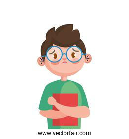 stop bullying and sad boy kid with book vector design