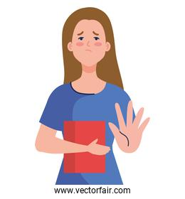 stop bullying and sad girl kid with book vector design
