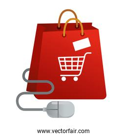 shopping bag with cart and mouse