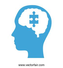mental health profile human with brain organ and puzzle piece