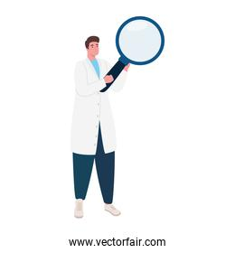 doctor with magnifying glass character
