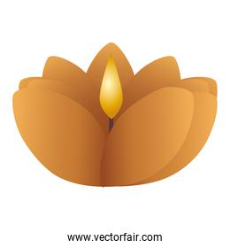 wooden diwali candle with floral shape decorative icon