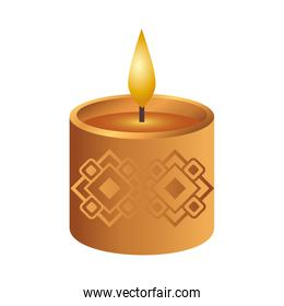wooden diwali candle decorative icon