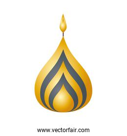 golden diwali candle decorative icon