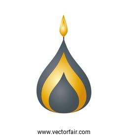 gray and golden diwali candle decorative icon