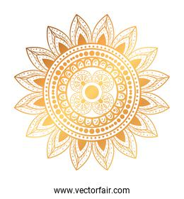 golden ethnic mandala decoration icon