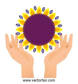 hand lifting diwali floral decoration with sunflower petals
