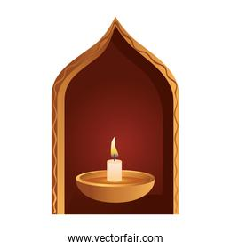 wooden diwali candle decorative in arch