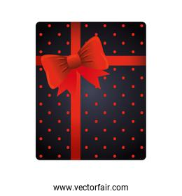 gift box present dotted with red bow ribbon
