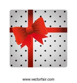 gift box present with bow red ribbon