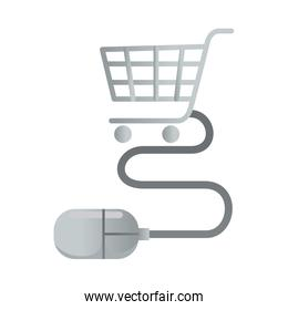 shopping cart with mouse device ecommerce icons