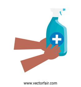 hand with disinfectant spray bottle isolated icon