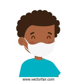 afro little boy wearing medical mask character