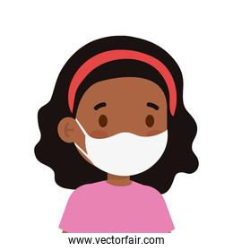 afro little kid wearing medical mask character