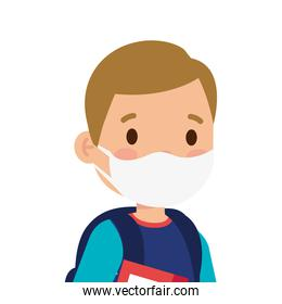 little boy kid wearing medical mask character