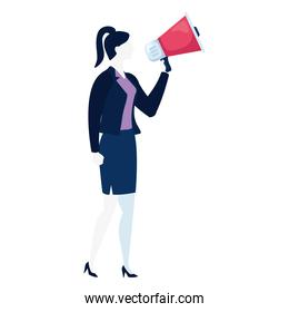 elegant business woman with megaphone character