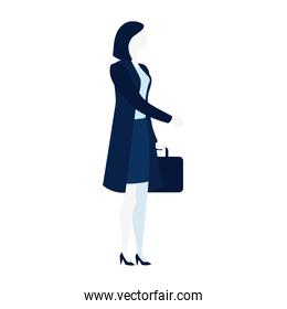 elegant business woman with portfolio character