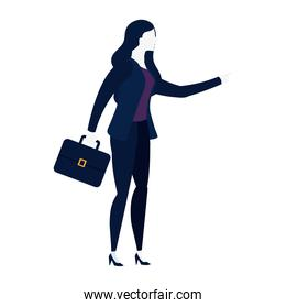 business woman with portfolio avatar character