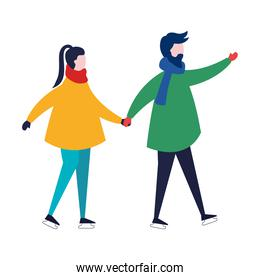 young couple wearing winter clothes in skates character