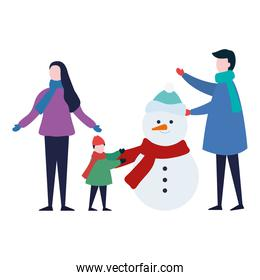 cute family wearing winter clothes with snowman