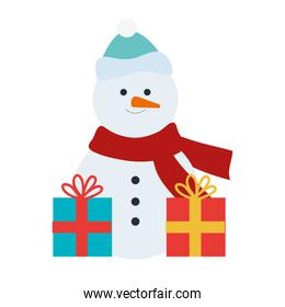 snowman christmas character with gifts presents