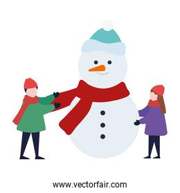 little kids wearing winter clothes with snowman