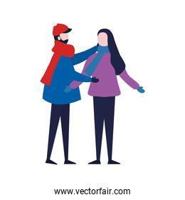 young couple wearing winter clothes character