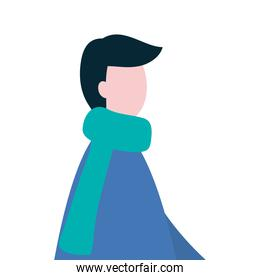 profile young man wearing winter clothes character